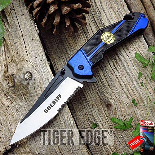 SPRING ASSIST FOLDING POCKET KNIFE Mtech Blue Black Sheriff Serrated Rescue EDC razor sharp + FREE eBOOK by MOON KNIVES!
