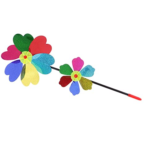 AmWISH Colorful Two-Layer Sequins Windmill Pinwheel Kids Beach Camping Toy Garden Lawn Decoration