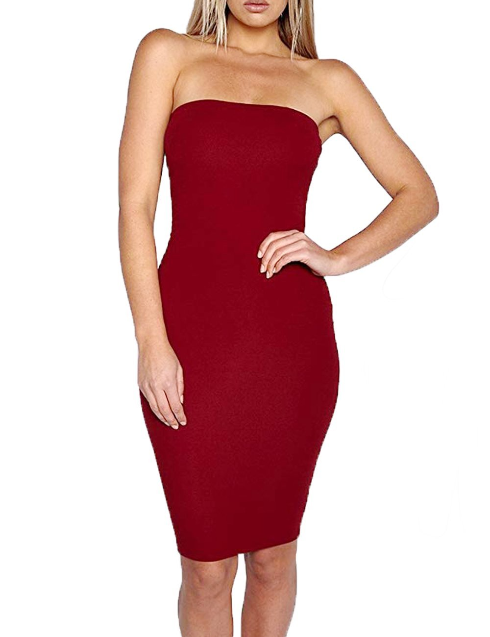 1212096ddb Haola Women s Tube Top Dresses with Sleeveless Sexy Bodycon Dress L WineRed
