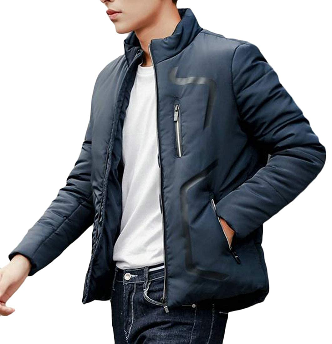 Pivaconis Men Winter Zipper Down Jacket Stand Collar Thick Quilted Parka Coat