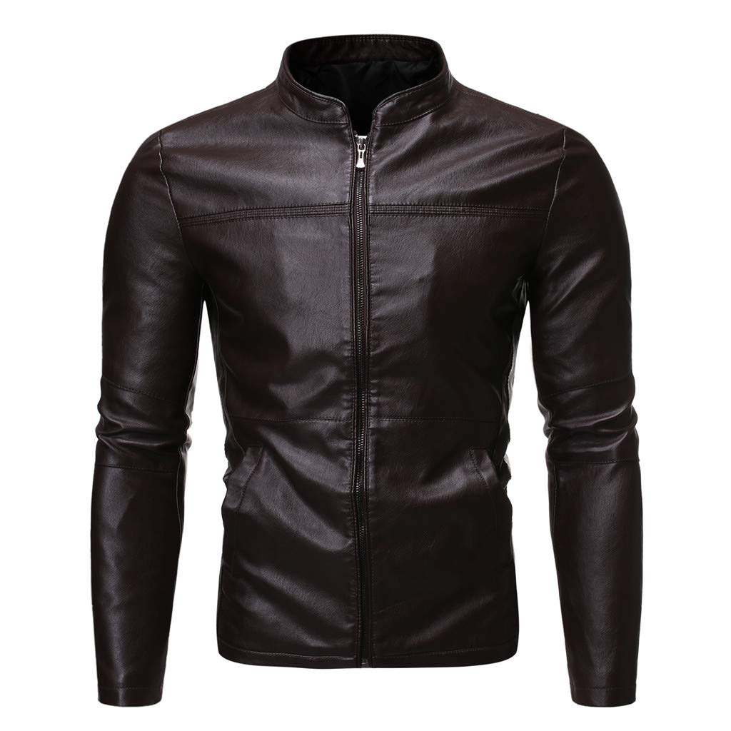 Redacel Men's Faux Leather Classic Stand Collar Bomber Slim Fit Jacket Collar Jacket Lightweight (Coffee,XL) by Redacel