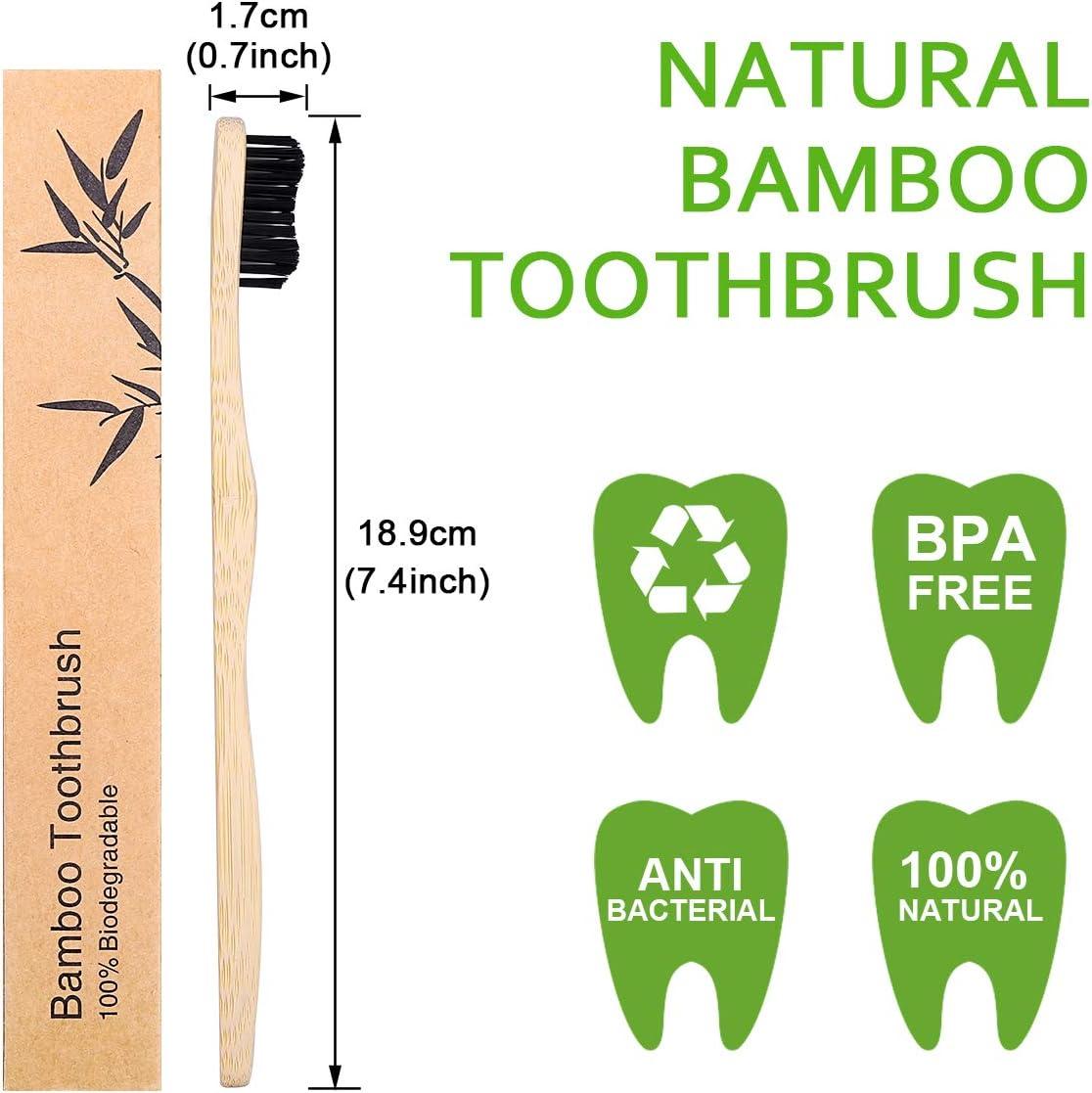 10PCS Cepillo de Dientes de Bambu, Ecológicos Bamboo Toothbrush ...