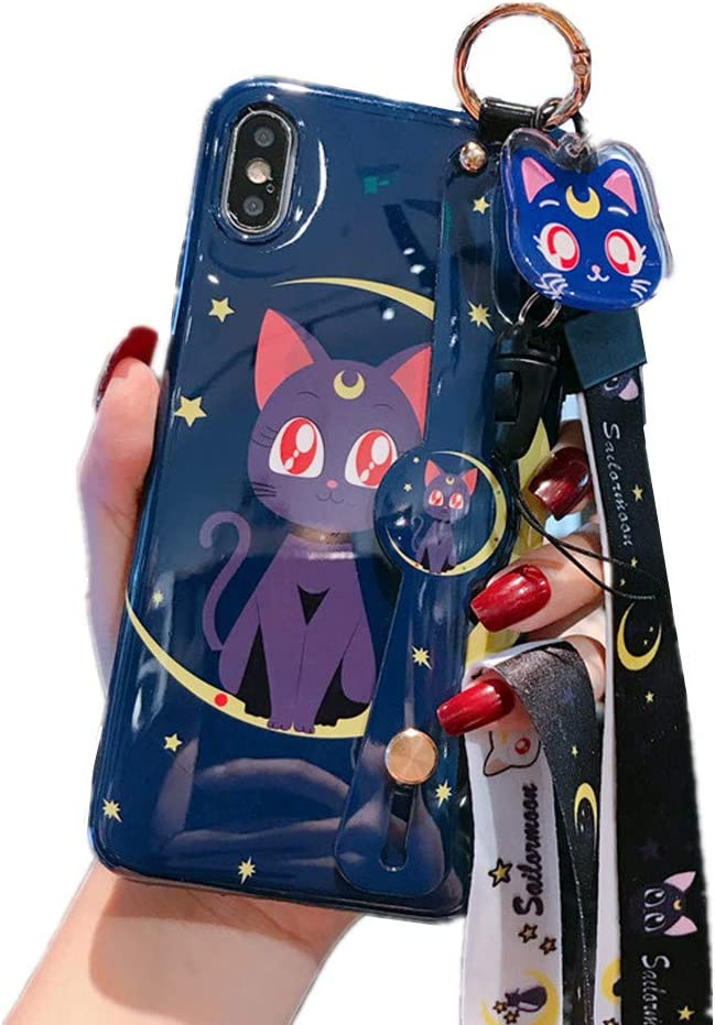 for iPhone Xr Case, for iPhone Xr Cover, Japan Anime Sailor Moon Case with Lanyard Strap Silicone Soft Phone Case Back Cover for iPhone XR (Luna Cat, for iPhone Xr)