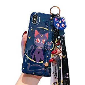 for iPhone 7 Plus 8 Plus Case Cover, Japan Anime Sailor Moon Case with Lanyard Strap Silicone Soft Phone Case Back Cover for iPhone 11 Pro Max Xs Max XR 7 8 Plus (Luna Cat, for iPhone 7 Plus/8 Plus)
