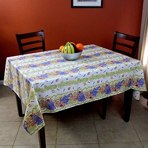 India Arts French Provencal Tablecloth Acrylic Coated 100% Cotton (Rectangular 61