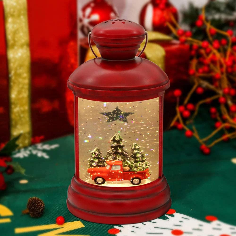 Mingfuxin Christmas Snow Globes Lantern, Christmas Water Lantern Musical Lighted Vintage Red Truck with Pine Trees,Swirling Glitter Snowglobes for Christmas Home Decor