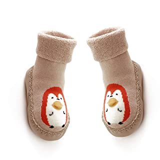 DierCosy 13CM Baby Anti-slip Socks Boots Breathable Cotton Shoes Cartoon Slipper Socks for Kids, Toddlers, Newborns-Khaki BabyProducts