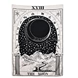 BLEUM CADE Tarot Tapestry The Moon The Star The Sun Tapestry Medieval Europe Divination Tapestry Wall Hanging Tapestries Mysterious Wall Tapestry for Home Decor (The Moon, 59''×59'')