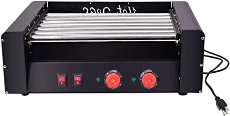 US Stock Commercial Grade YiiYYaa Electric 18 Hot Dog 7 Roller Grill Cooker Machine 1350-Watt dual-temperature controls