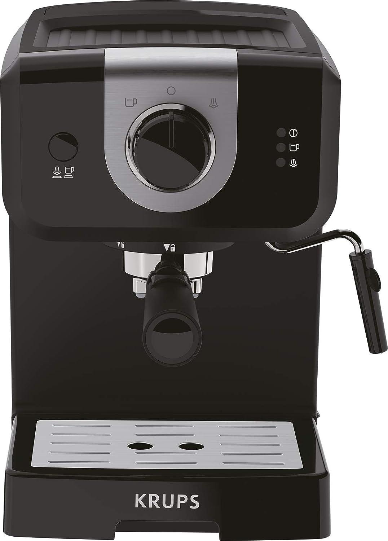 Acquisto Krups Opio XP320810 – Caffettiera 15 bar di pressione, scaldavivande e montalatte, controllo girevole, nero/argento Prezzi offerta