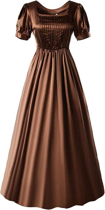 HEQU Regency Dresses for Women with Satin Sash Ruffle Empire Waist Dress Gown