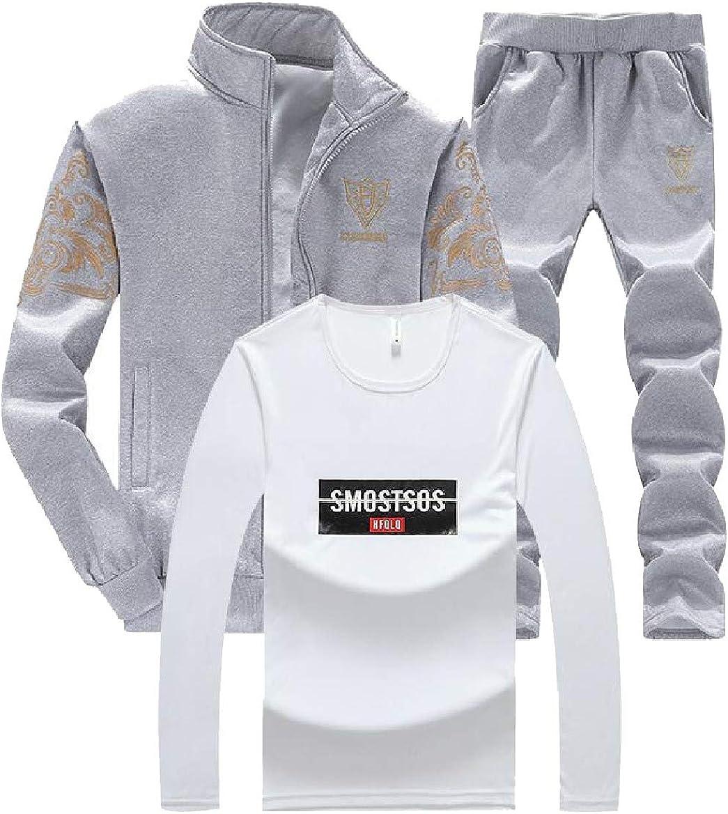 Abetteric Mens Stand Collar Floral Print Spring//Fall Regular Sweatsuit