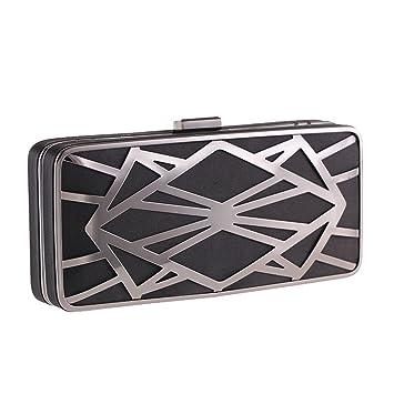 efbdd549c4 Hungrybubble Borsa da sera con pochette da donna Borsa da tasca con patta a  catena con guscio di metallo (Color : Black): Amazon.it: Casa e cucina