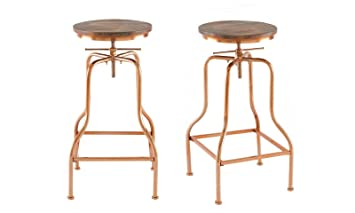 Fine Neo 2X Industrial Metal Vintage Wood Adjustable Swivel Bar Stools Chairs Copper Square Metal Frankydiablos Diy Chair Ideas Frankydiabloscom