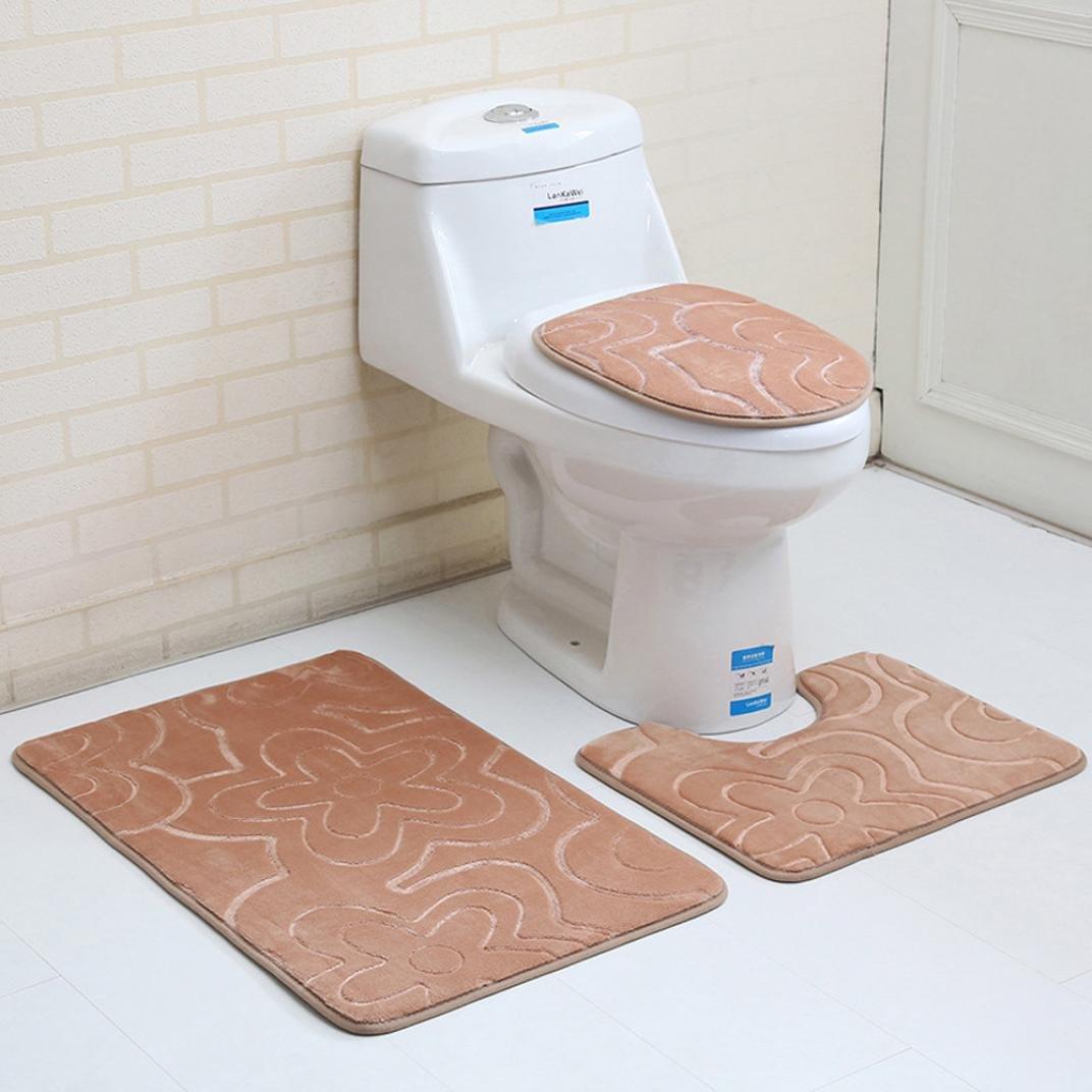 Creazy 3PC Bathroom Set Rug Contour Mat Toilet Lid Cover Plan Solid Color Bath Mats (B) by Creazydog