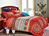 Bohemian Comforter Set Queen, Boho chic Mandala Medallion Printed,Soft Microfiber Bedding (3pcs, Queen Size)