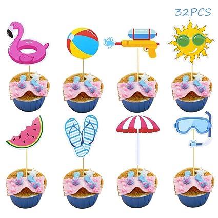 Amazon.com: Ainuioi - Juego de 32 adornos para cupcakes con ...