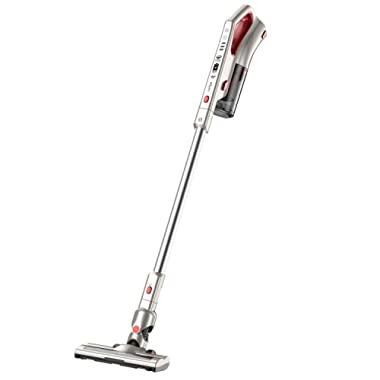 Comfyer Cordless Vacuum Cleaner, 2 in 1 Bagless Stick Vacuum, 8Kpa Multi-Cyclonic Suction & LED Power Brush, Lightweight Handheld Vacuum with HEPA Filter, 22.2V Detachable Battery and Wall Mount
