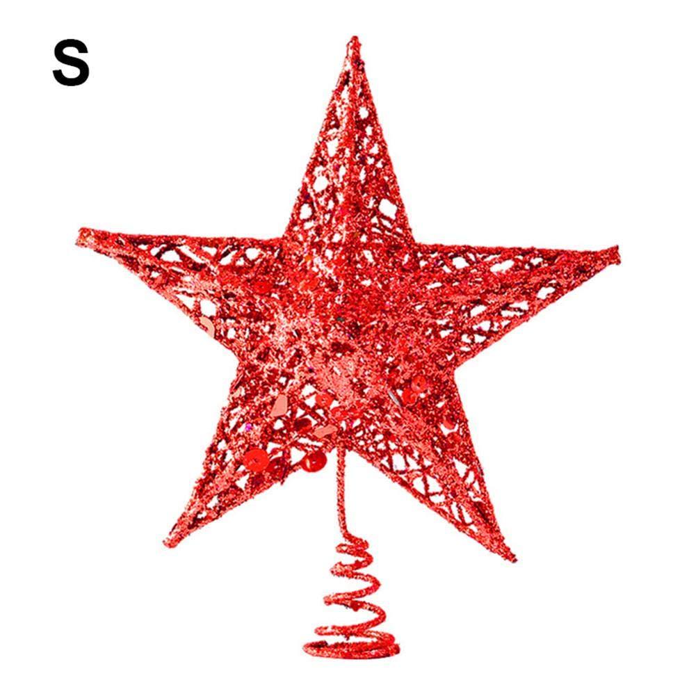 Cokeymove 12/15/20/25 cm Christmas Tree Star Treetop Decoration Shimmery puntale per albero di Natale polvere glitter per albero di Natale Decorazioni forniture decorazione stella, oro