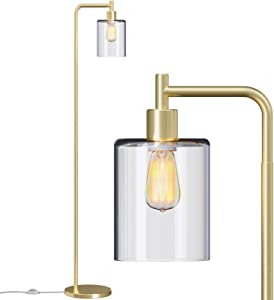 Addlon LED Floor Lamp, with Hanging Glass Lamp Shade and LED Bulb for Bedroom & Living Room, Modern Standing Industrial Lamp Tall Pole Lamp for Office, Brass Gold