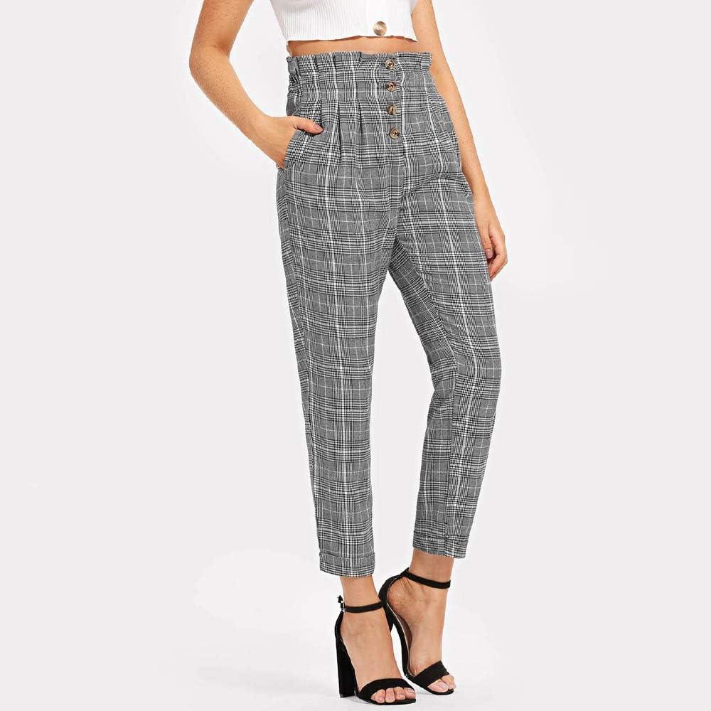 ITISME Jeanshosen Femme Automne /ÉLastique Taille D/éContract/éE Pantalon /à Boutonnage Simple /à Carreaux /à Volants Pantalons Mode Chic
