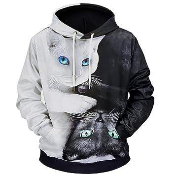 SWEAAY Sudaderas con Capucha De Mezcla De Dibujos Animados Gato Impreso 3D De Gran Tamaño Sudadera