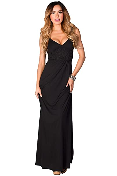 ebe4f6813414 Babe Society Women's Black Spaghetti Strap Jersey Maxi Dress with Crochet  Details Small