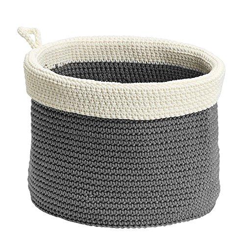 InterDesign Ellis, Hand Knit Round Organizer Bin for Towels, Blankets, Linens, Books, Accessories - Medium, Gray/Ivory