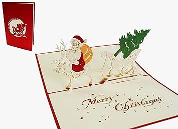 Bilder Weihnachtskarten.Lin Pop Up Karten Weihnachtskarten 3d Karte Weihnachtskarten Weihnachtsmann Santa Claus Auf Rentier N411