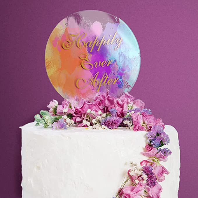 white  acrylic Cake Topper 3 pack clear black