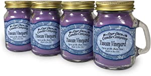 Our Own Candle Company Tuscan Vineyard Scented Mini Mason Jar Candle, 3.5 Ounce (4 Pack)