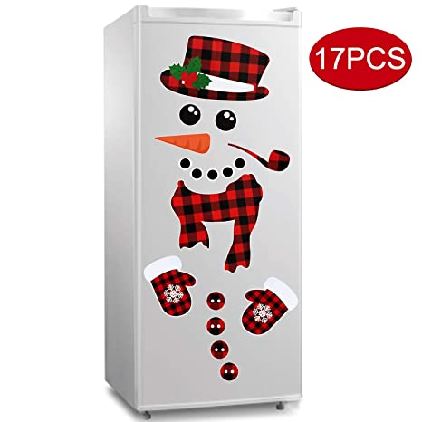 17pcs Snowman Refrigerator Magnets Christmas Decorations Large Red Black Buffalo Plaid Fridge Magnet Stickers Xmas Holiday Decorations For