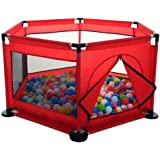 Baby Kids Playpen Activity Center Room Fitted Floor - with 50 pcs Balls Safety Protection Care Crawling Folding Fence Toys Portable Indoors Outdoors and Parks Gifts (Red)