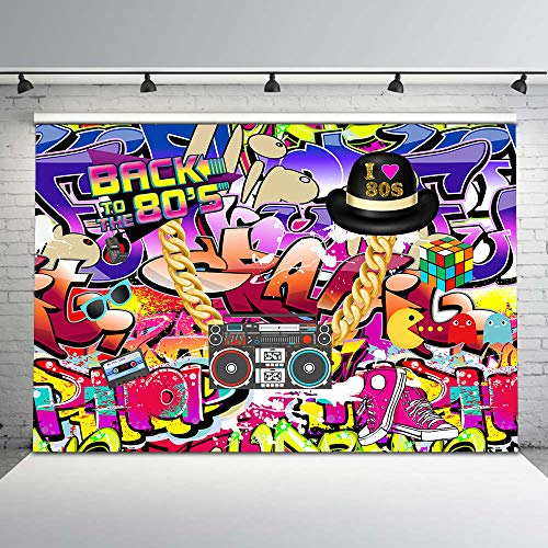 Mehofoto Hip Pop 80s Backdrop Graffiti Wall Theme Photo Backdrops 7x5ft Back to The 80s Background for Birthday Party Studio Props]()