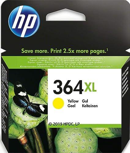 Oferta amazon: HP 364XL CB325EE Amarillo, Cartucho de Alta Capacidad Original, de 750 páginas, para impresoras HP Photosmart serie C5300, C6300, B210, B110 y Deskjet serie 3520