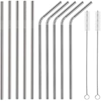 Trendy 10 piece Stainless Steel Arched Straws Sets with 2 Cleaners(5 Straight|5 Bent|2 Brushes)