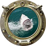 12'' Porthole Instant Ocean Window Sea View GREAT WHITE SHARK ATTACK #3 ANTIQUE BRONZE Wall Sticker Kids Decal Room Home Art Décor Graphic SMALL
