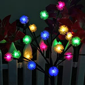 Anordsem Solar Garden Lights Outdoor Decor Lights DIY Dimmable Multi-Color Changing Tree Shape Solar Snowflake Lights Stake Lights Auto ON-Off for Garden Pathway Christmas Halloween 2-Pack