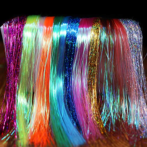 XFISHMAN Fly Tying Materials 12 Colors Krystal Flash Holographic Ripple Flashabou Flies Fishing Lure Making Supplies (3-Holographic Flashabou Set C) ()