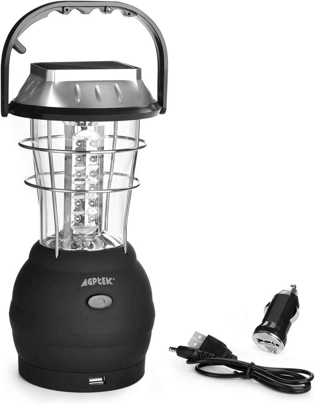 AGPTEK Solar Lantern, 5 Mode Hand Crank Dynamo 36 LED Rechargeable Camping Lantern Emergency Light, Ultra Bright LED Lantern - Car Charge - Camping Gear for Hiking Emergencies Hurricane Outages