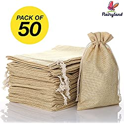 "FLAIRYLAND 5"" x 8"" Burlap Bags with Jute Drawstring for Holiday Party Birthday Wedding-Gift Jewelry Treat DIY Craft Favor Bags Sack Pouch, Biodegradable Linen Absorbs Moisture Oil Grease, Lot of 50"