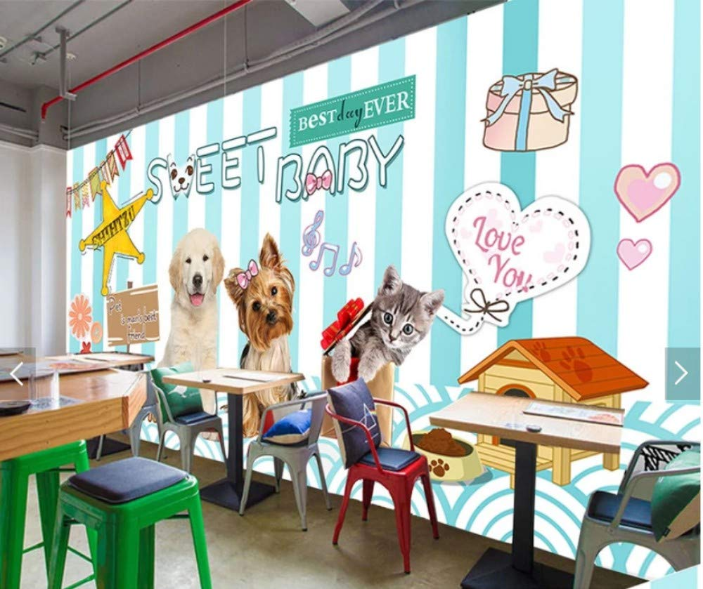 250x175cm Yirenfeng Hand Drawn Cartoon cat Dog Hospital Clinic Fashion pet Shop Beauty Salon Background Wall