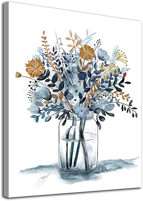 "Flowers Wall Art Pictures Wall Decor Watercolor Canvas Pictures Bathroom Bedroom Living Room Decoration Blue Canvas Picture Contemporary Botanic in Jar Canvas Artwork Framed Ready to Hang 12"" x 16"""