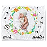 infant girl quilt - Newborn Baby Monthly Milestone Blanket Shower Gifts, CAVN Thick/Soft/Cozy Flannel 0-12 Months Baby Milestone Blanket Photography Backdrop Photo Props for Newborn Infant Boy and Girl