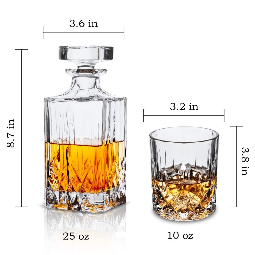 KANARS Whiskey Decanter And Glass Set In Unique Luxury Gift Box - Original Crystal Liquor Decanter Set For Bourbon, Scotch or Whisky, 5-Piece by KANARS (Image #5)