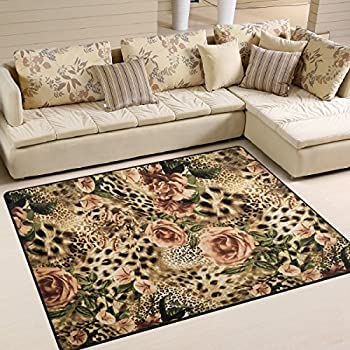 Amazon Com Alaza Striped Leopard Print Floral Area Rug