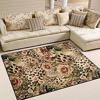Amazon Com Alaza Striped Leopard Print Floral Area Rug