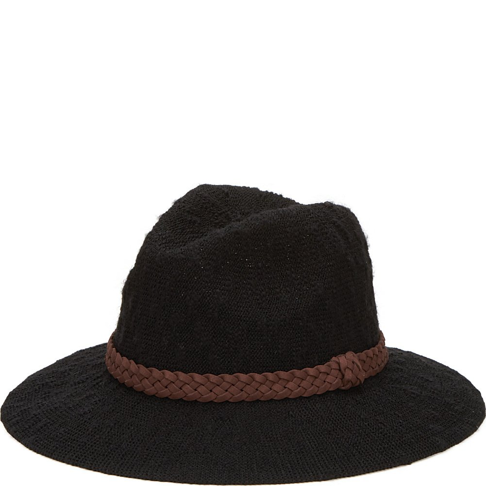 cfd868e2a5f7c San Diego Hat Machine Knit Fedora with Braided Suede Trim (One Size -  Black) at Amazon Women s Clothing store