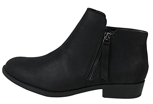 07c31a52551 City Classified Women's Closed Toe Zipper Tassel Low Heel Ankle Boot Black 6