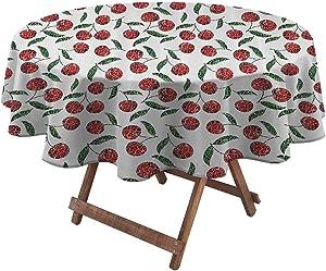 Spring Tablecloth Garden Decor Outdoor/Indoor Waterproof Spillproof Grunge Mosaic Style Cherries Seasonal Ripe Sweet Fruits Fresh Orchard Harvest 48